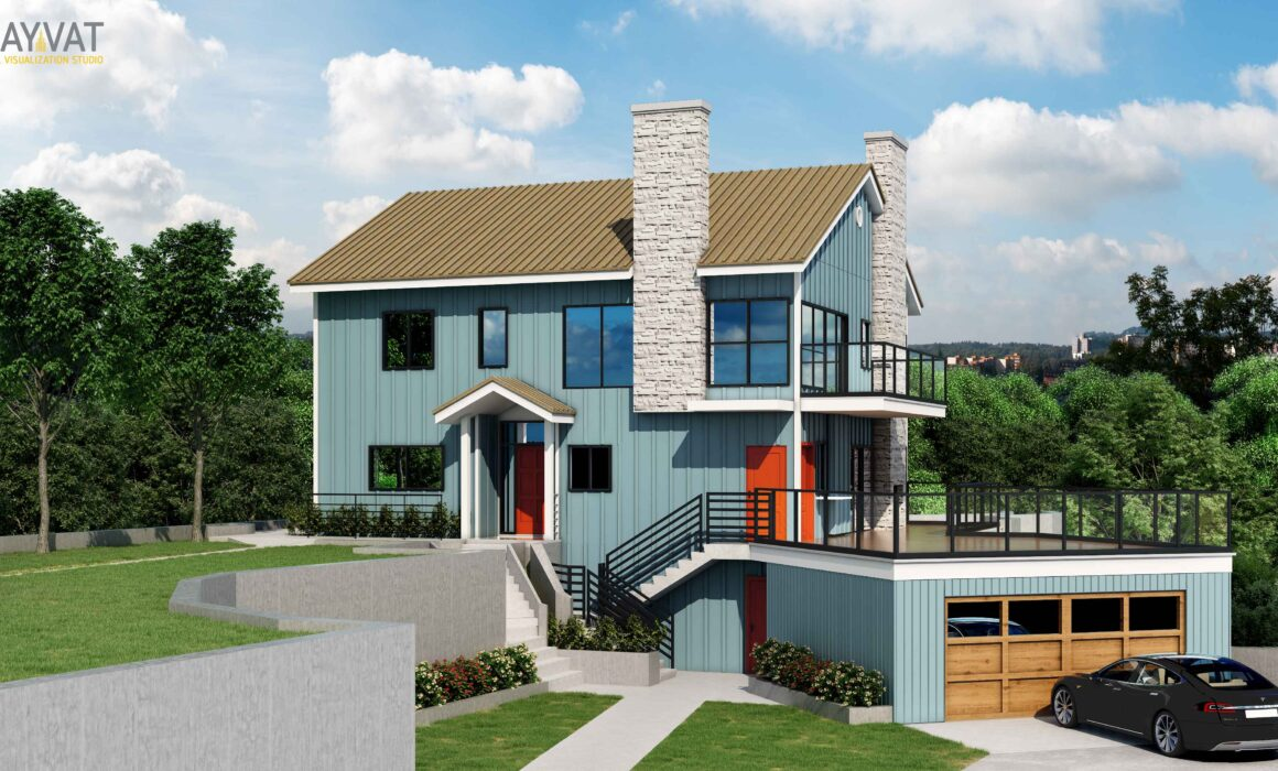 'BEAUTIFUL HOME' – 3D EXTERIOR RENDERING OF HOUSE, INDIANAPOLIS