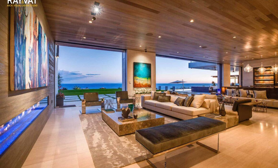 'LUXURIOUS LIVING ON BEACH' – 3D RENDERING OF LIVING AREA, SOUTHAMPTO