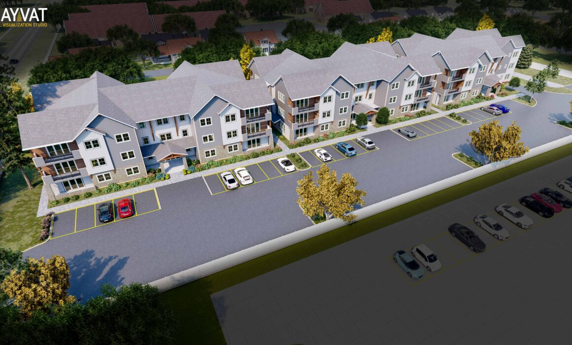 3D AERIAL VIEW RENDERING OF A TOWNHOUSE – BOZEMAN, MONTANA