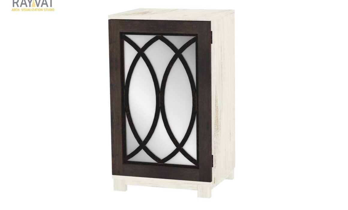 3D RENDERING OF SIDE TABLE – NASH SIDE TABLE WITH MIRROR