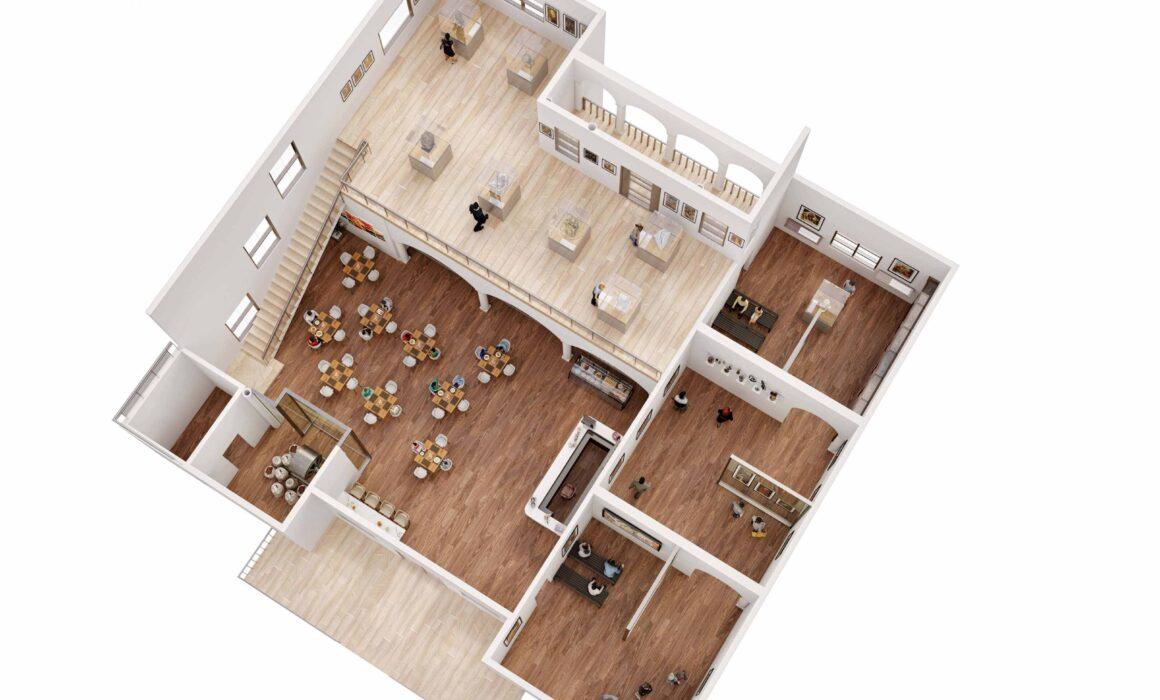 3D FLOOR PLAN RENDERING OF COFFEE BAR – NEW YORK