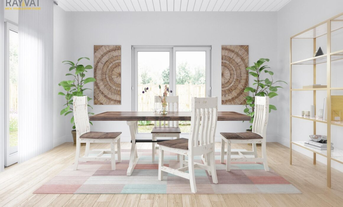 3D MODERN FARMHOUSE STYLE FURNITURE RENDERING – DINING TABLE & CHAIR<span id=