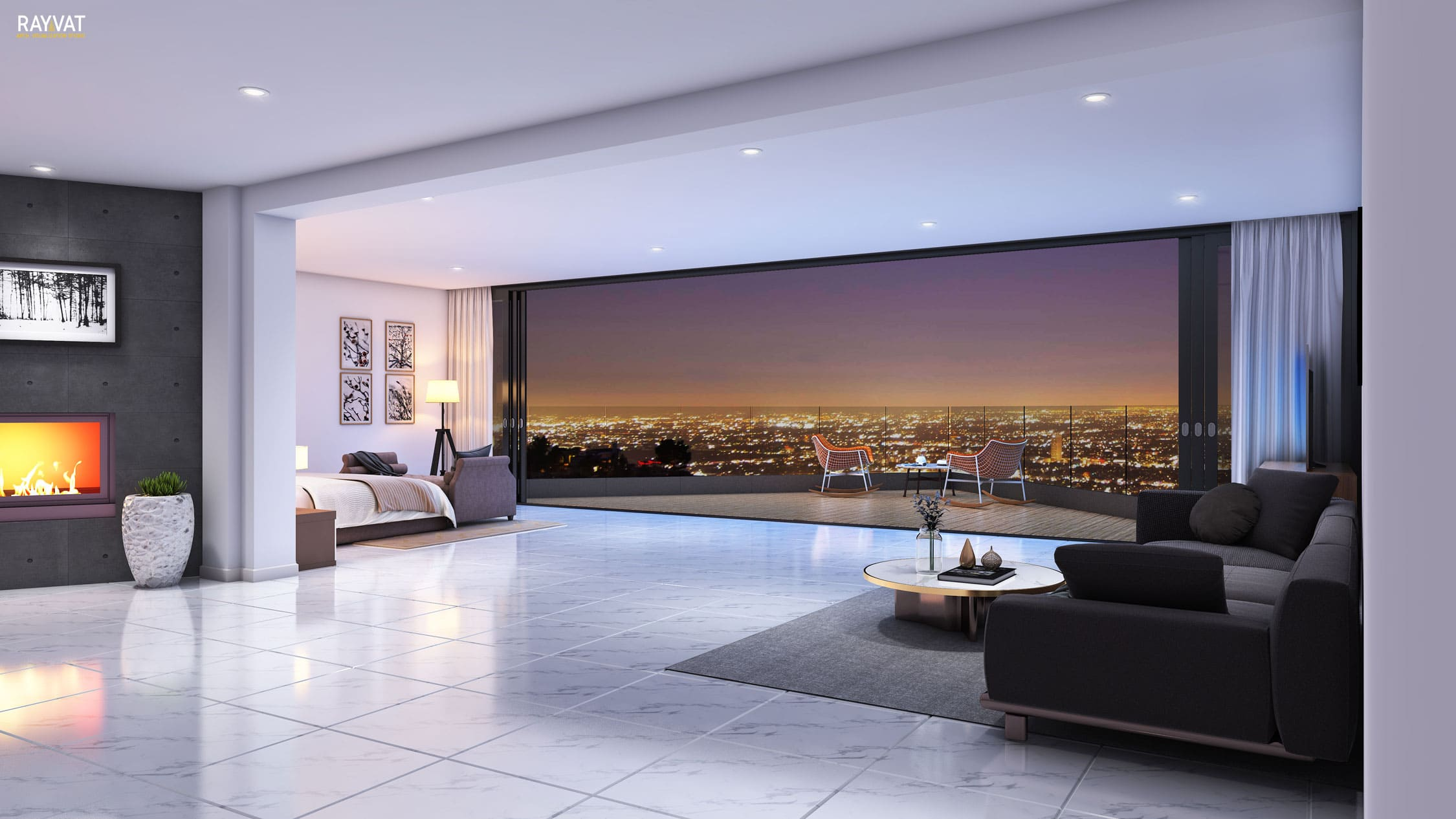 Beautiful City Night View from Bedroom, 3D Interior, Los Angeles, CA