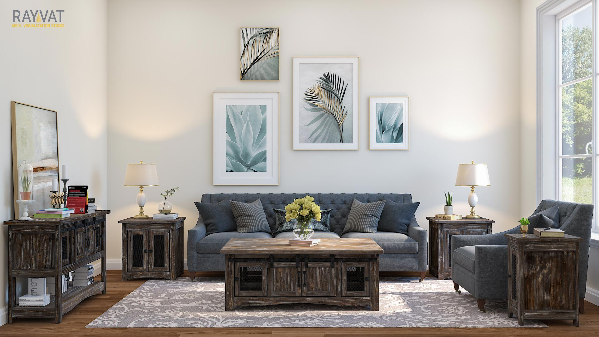Living Room CGI Shows Rooms at Different Times of the Day