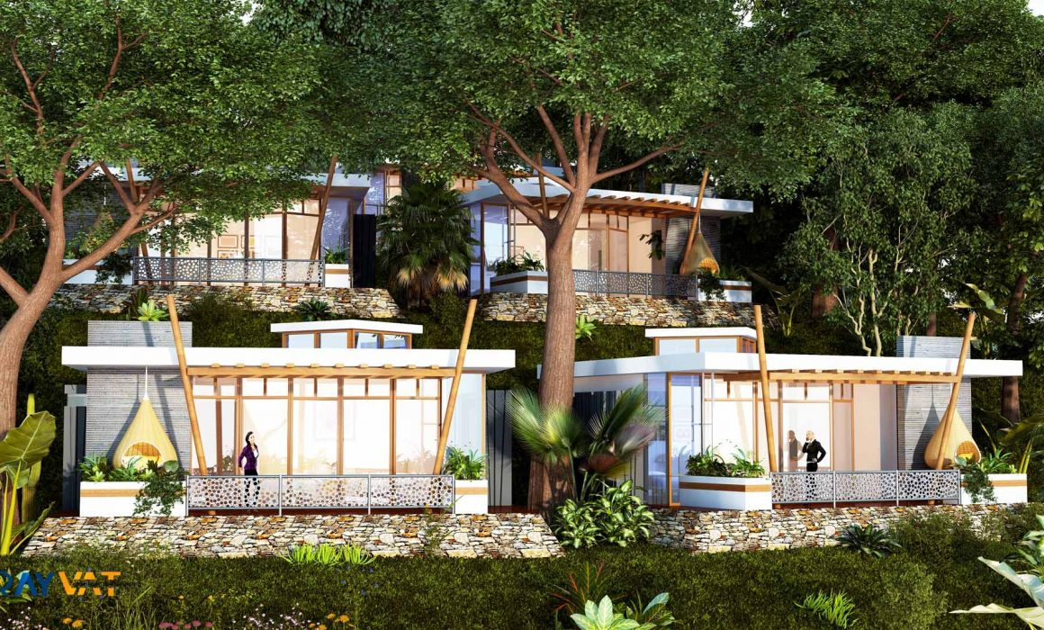 'UNISON BETWEEN NATURAL GREENS AND BUILT MASS' – 3D EXTERIOR RENDERING OF FORESTAL ROOMS, COSTA RICA