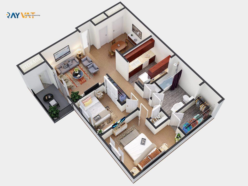 3D Floor Plan Hurlington New York