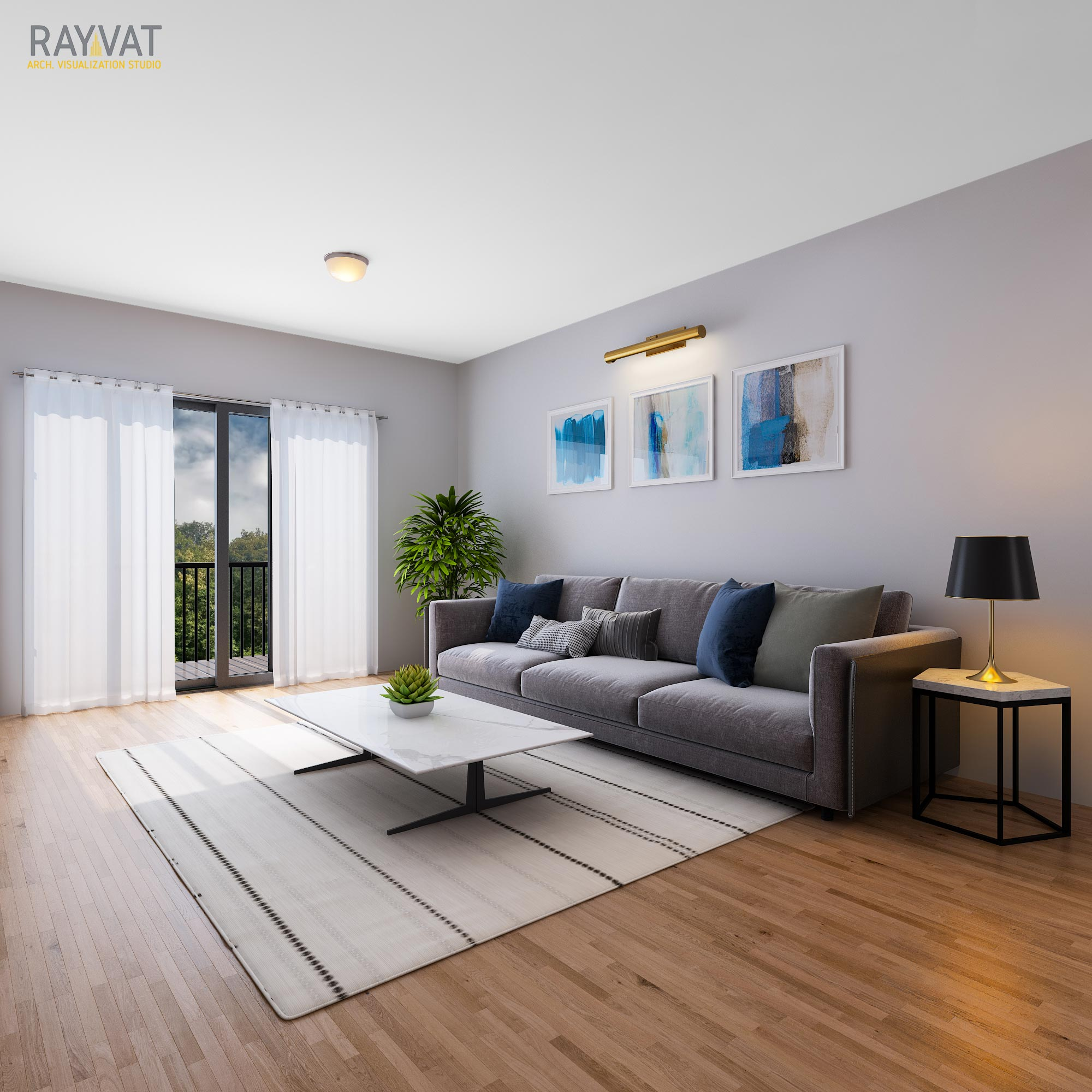 Living Room CGI Clearly Depicts the Room Layout