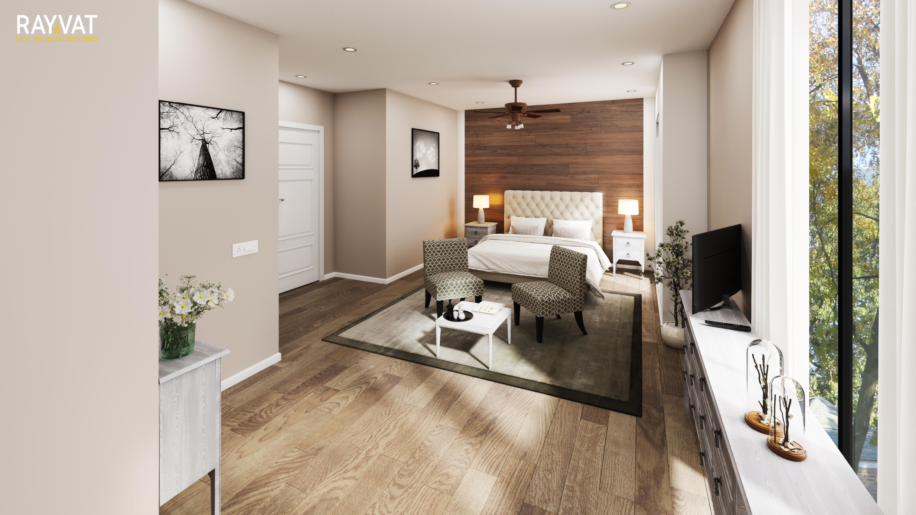 Use light filters in Bedroom CGI to show rooms in the daytime and at night