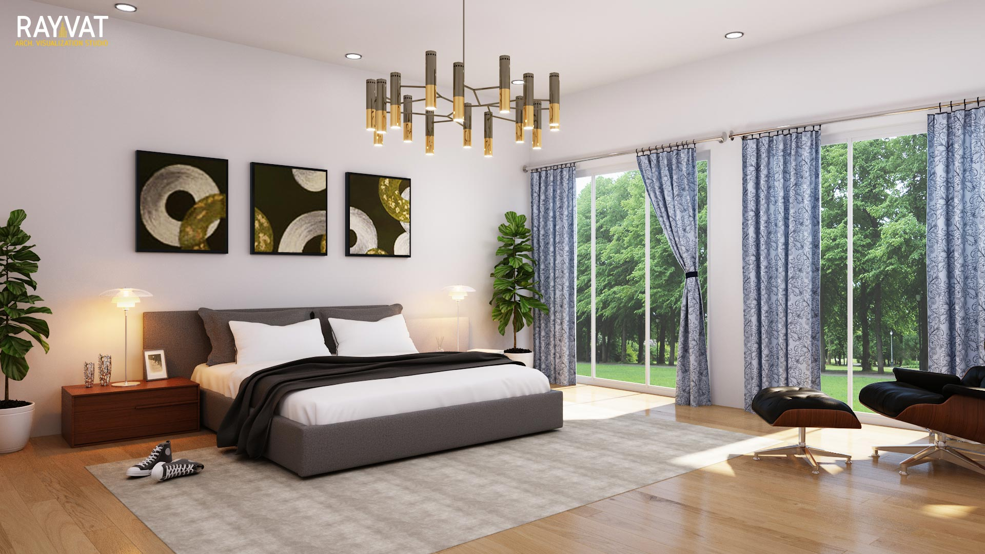 Present the chosen finishes, colours and textures through CGI