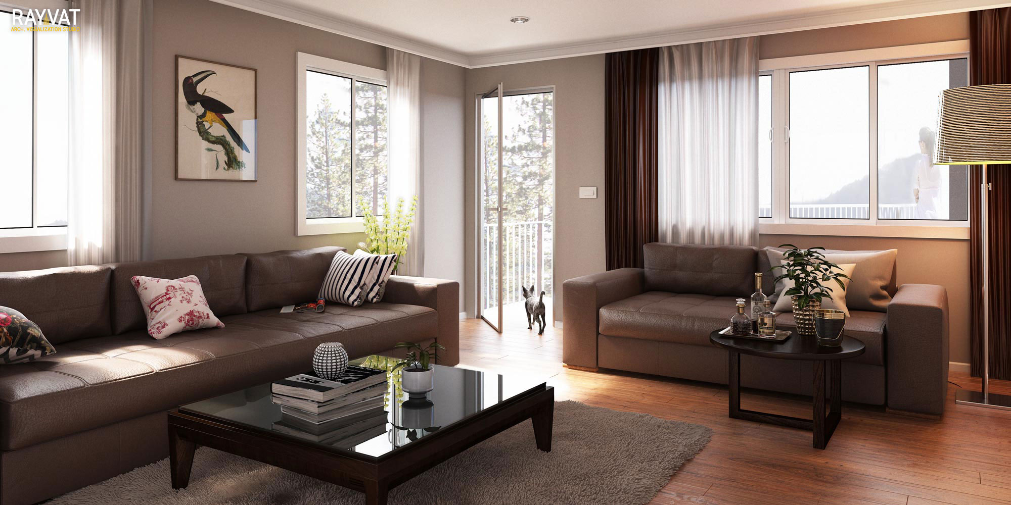 Luxurious Room Interior Rendering