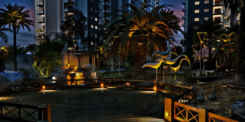 Palm Beach 3D Night View